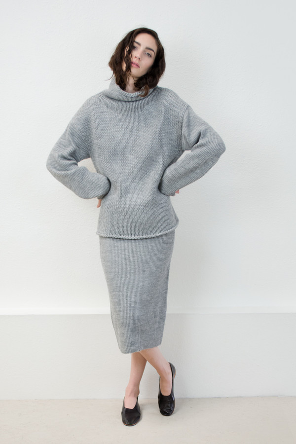 Micaela Greg Melange Grey Tube Skirt