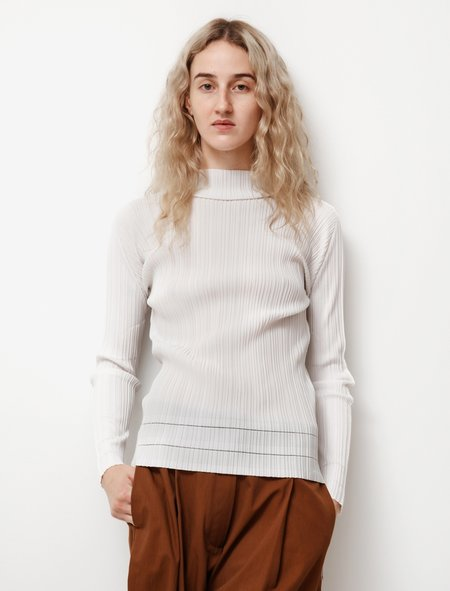 Pleats Please by Issey Miyake A POC Long Sleeve Top - White