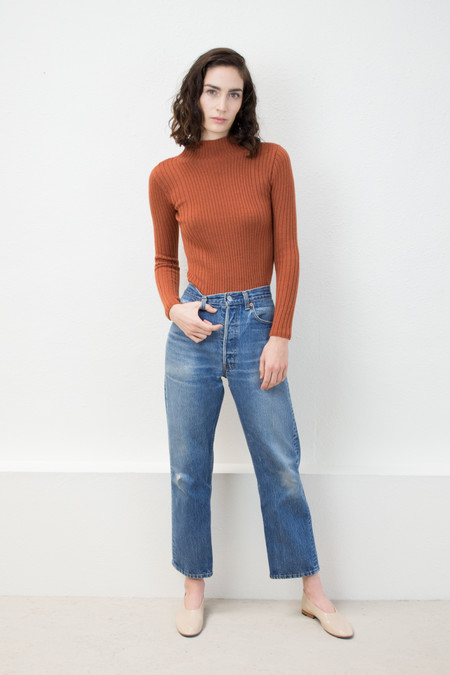 Micaela Greg Rust Variegated Rib Turtleneck Sweater