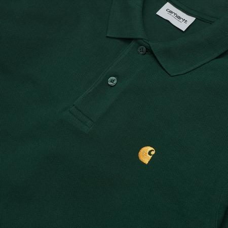 Carhartt Wip L/s Chase Pique Polo - Bottle Green