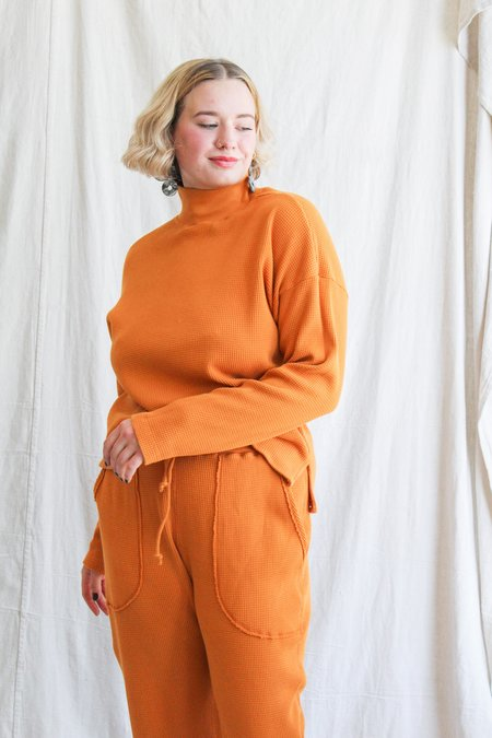 BACK BEAT RAGS Waffle Thermal top - Sunset