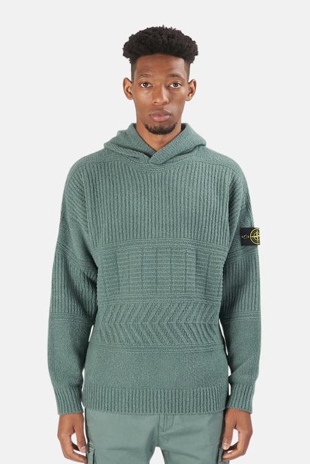 Stone Island Wool Hooded Jumper Sweater - Green