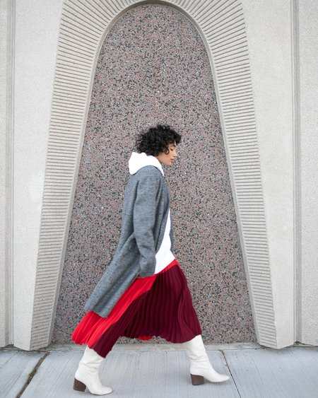 Nomia Colour Blocked Pleated Skirt - Burgundy/Red