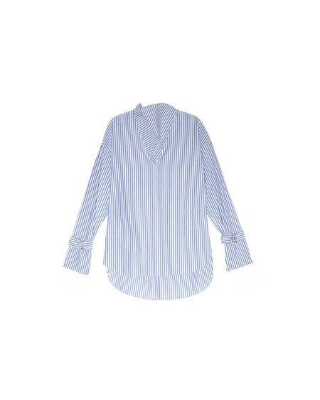 Nomia Striped Cowl Neck Shirt - BLUE STRIPE