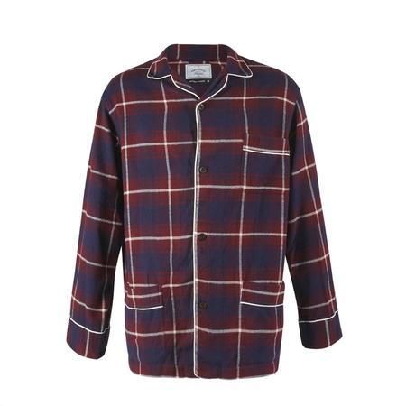 Portuguese Flannel PAJAMA CHECK TOP - BURGUNDY