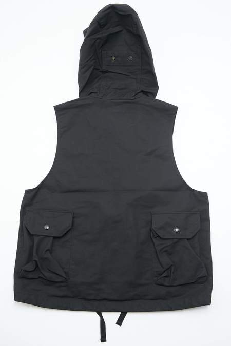 Engineered Garments Field Vest in Cotton Double Cloth - Black