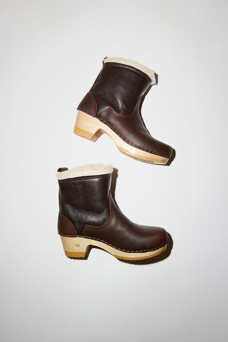 No.6 Pull on Shearling Clog Boot on Mid Heel - Brown Aviator