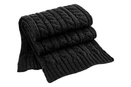 Milworks Cable Knit Melange Scarf - Black