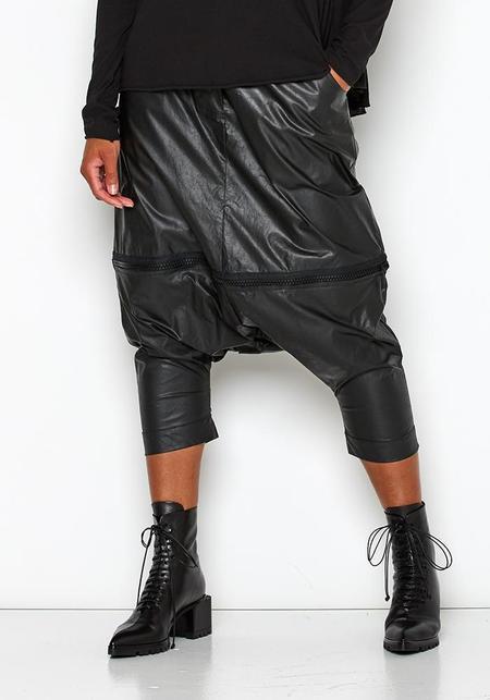 Studio B3 Haicco Leather Look Drop Seat Pants/Skirt - Black