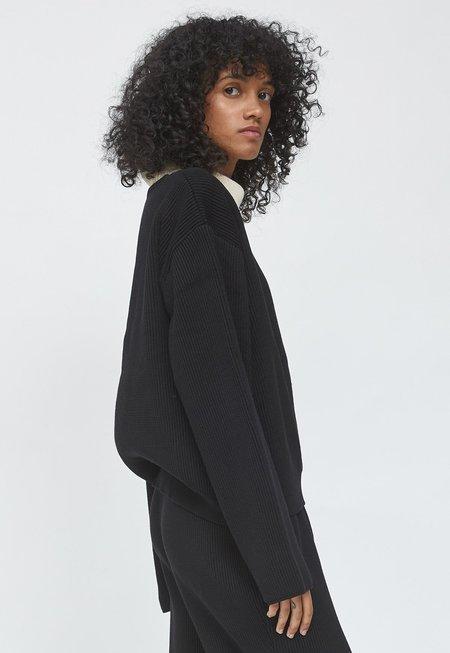 LE17SEPTEMBRE Cotton V-neck Pullover - Black