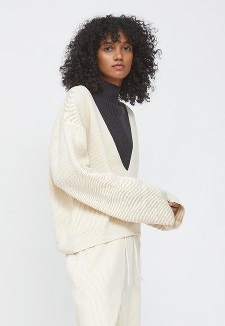LE17SEPTEMBRE Cotton V-neck Pullover - Ecru