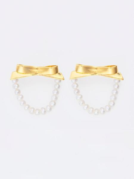Mirit Weinstock petite bows and pearls hoops - gold