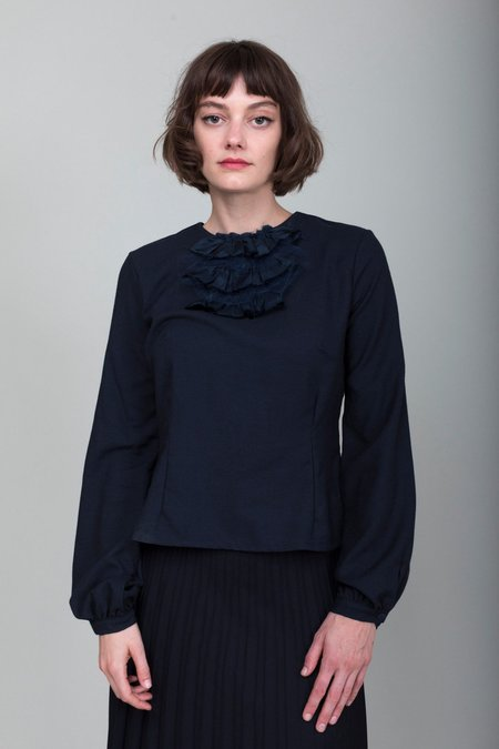 Hazel Brown Collection Wool Crepe Blouse - Navy