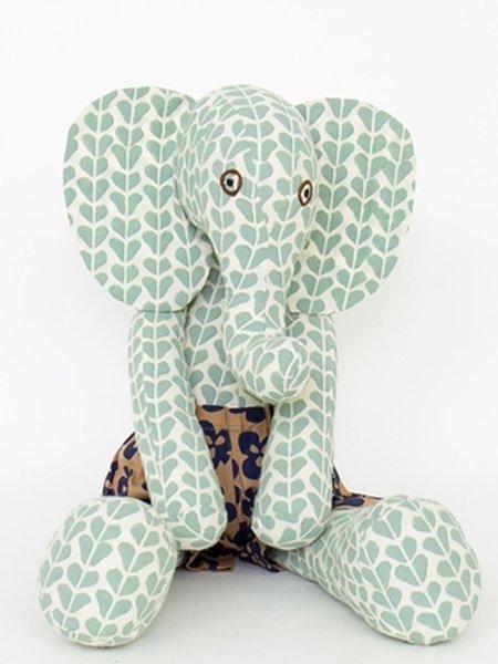 KIDS Afro Art Elephant Frank toy - Green/cream/brown