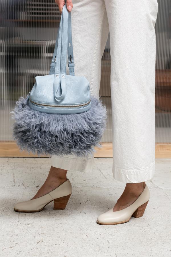 Kara Shearling Small Backpack - sky blue