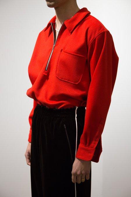 Camiel Fortgens Felt Polo Zip Shirt - Red