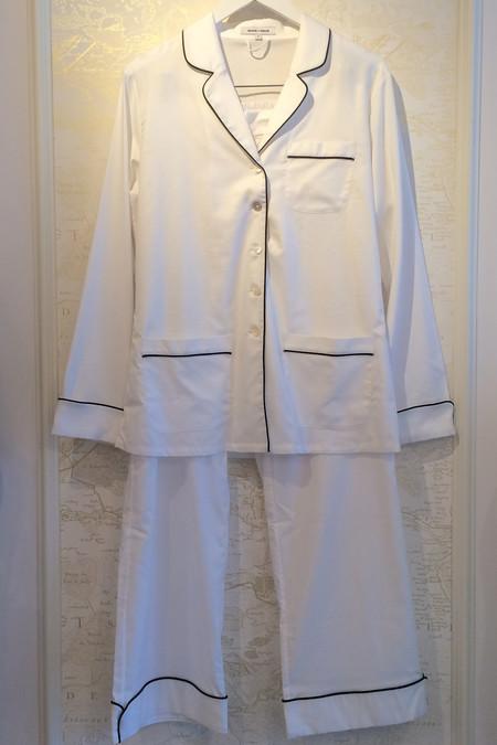 Olivia Von Halle Cotton Contrast Trim Pyjama Set
