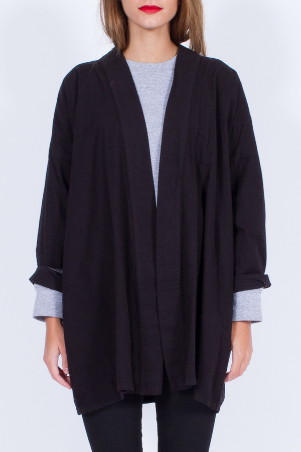Yo Vintage! BLACK COTTON SHORT KIMONO (ONE SIZE)