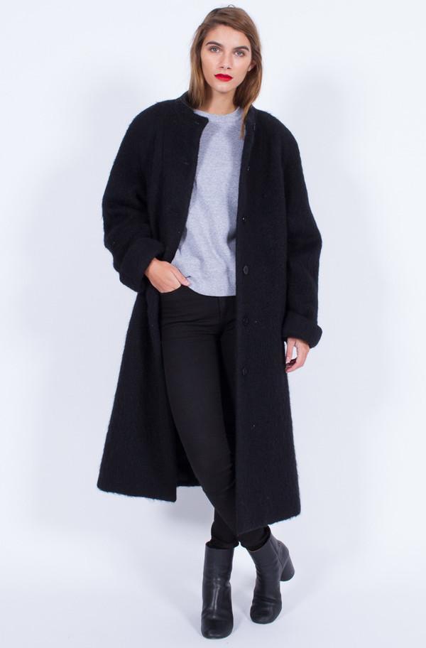 Yo Vintage! BLACK WOOLEN COAT (ONE SIZE)