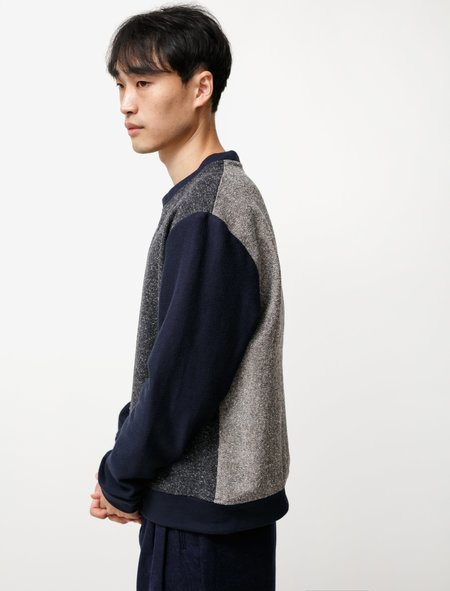 Frank Leder Cotton Mix Sweatshirt - Dark gray/Light gray/Blue