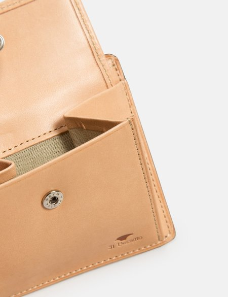Il Bussetto Bi-Fold Leather Wallet with Coin Pouch - Light Brown