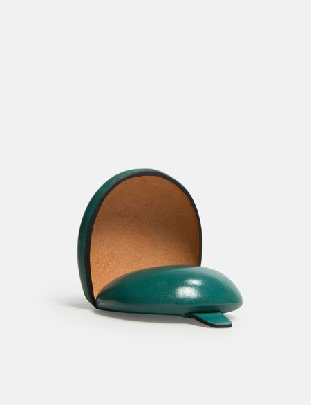 Il Bussetto Dome Leather Coin Case - Evergreen
