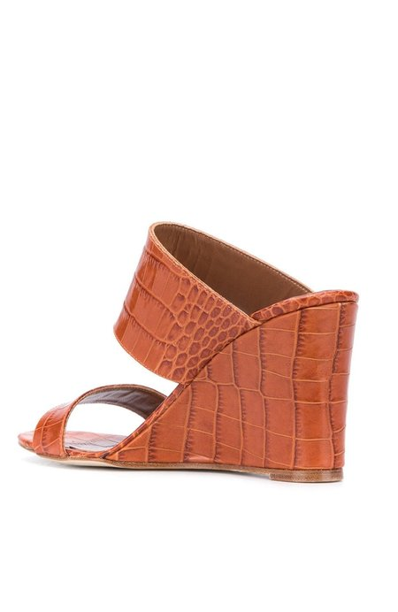 Paris Texas Moc Croc 2 Strap Wedge - COGNAC