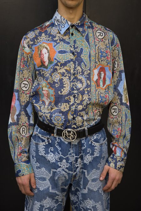Martine Rose Lurex Classic Shirt - Blue Rug Printed Glitter