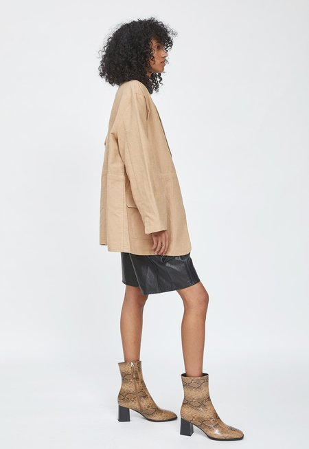 HIDDEN FOREST MARKET Linen Belted Jacket - Dark Beige