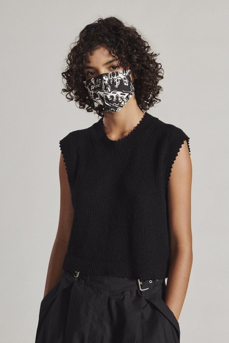 Rachel Comey Alice Loop Mask - Black Ornamental Cotton