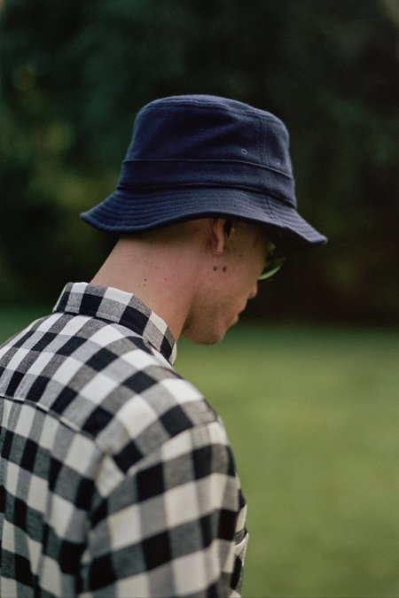 Universal Works Bucket Hat - Navy Melton