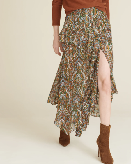 Veronica Beard Trixie Paisley Midi Skirt - Green