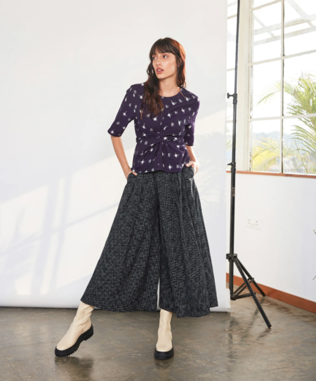 RUJUTA SHETH Frida Flare Pants - Black Ikat
