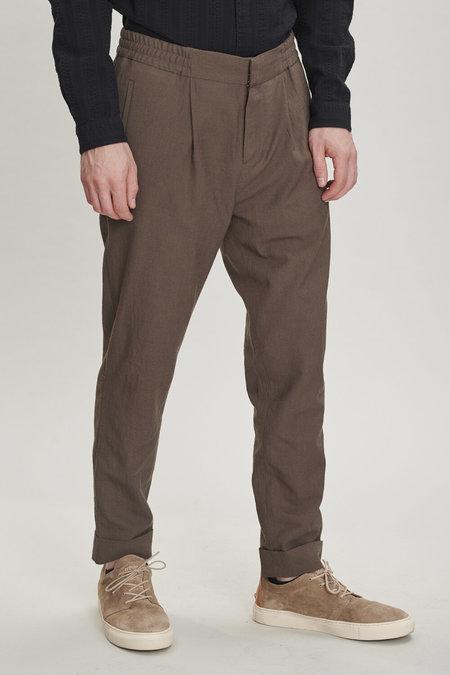 delikatessen Garden Italian Merino Wool Trousers - Olive Brown