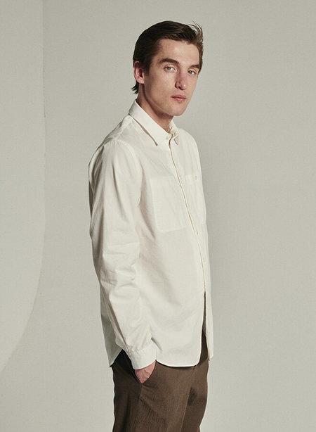 delikatessen Portuguese Cotton and Tencel Blend Relaxed Farmer Shirt - White