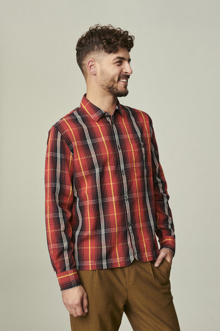 Delikatessen Strong Fine Italian Twill Cotton Shirt - Red