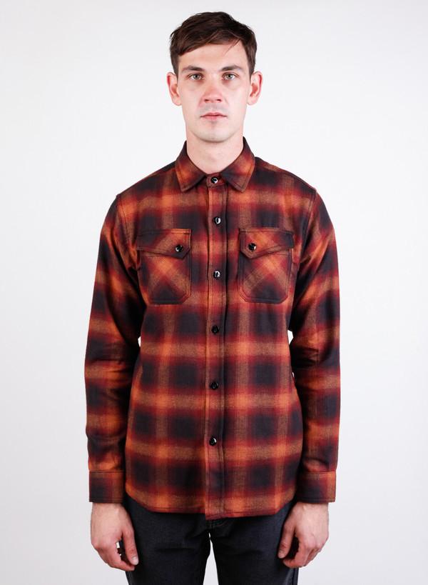 Men's 3Sixteen Crosscut Flannel Orange Ombre