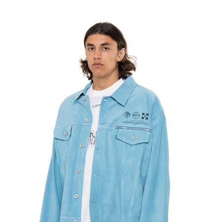 OFF-WHITE Taft Point leather jacket - light blue
