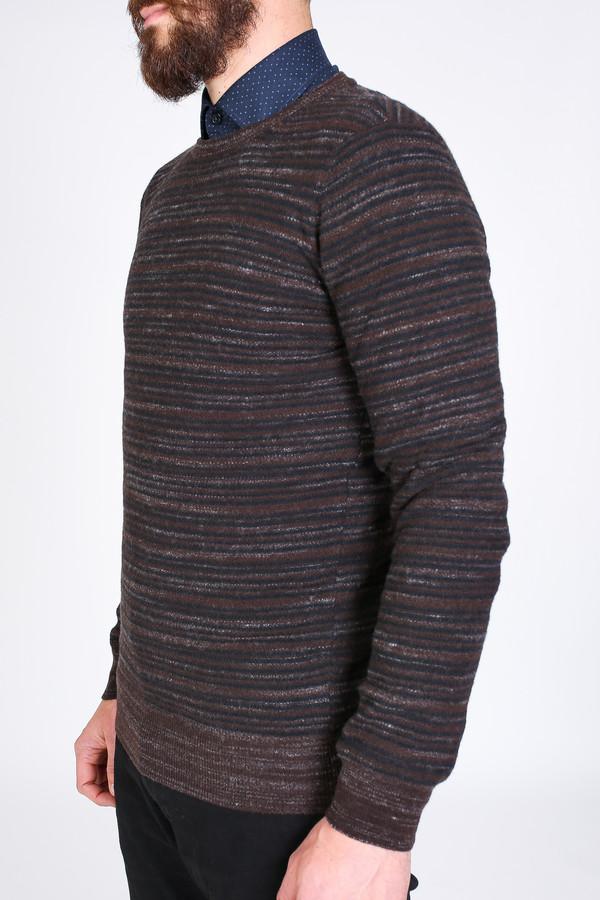 Men's Billy Reid Blurred Stripe Crew Sweater in Brown