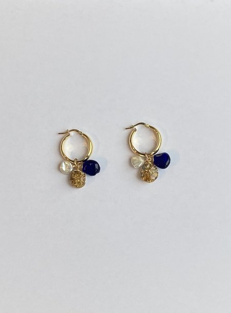 Mars Gold/Navy Charm Hoops - Gold plated sterling silver/ freshwater pearl/resin