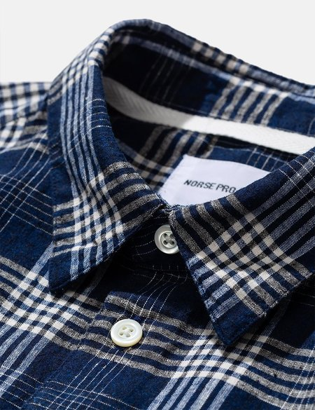 Norse Projects Hans 50/50 Check Shirt - Himmel Blue