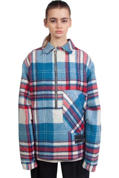 we11done Wool Half-Zip Shirt - Blue Check