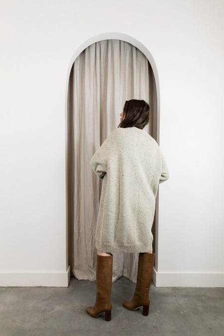 Lauren Manoogian High Crewneck Dress - Ecru Tweed
