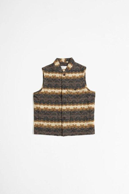 Universal Works Battleman Urban Mex Wool Waistcoat - Chocolate/ Black