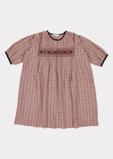 Kids Caramel Dove Dress - Pink Check