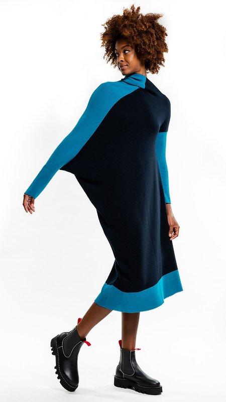 Issey Miyake 132.5 Flat Rib Knit 2 Dress - Navy/Turquoise