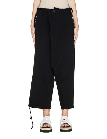 Yohji Yamamoto Wide Cotton Trousers - black
