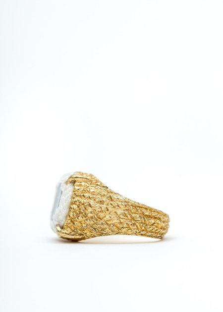 SWEETLIMEJUICE Denim Oval Planet Signet Ring - Gold /White Denim/Clear Stone