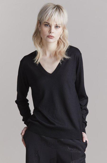 Laing Home Emma Silk V-Neck Sweater - Black