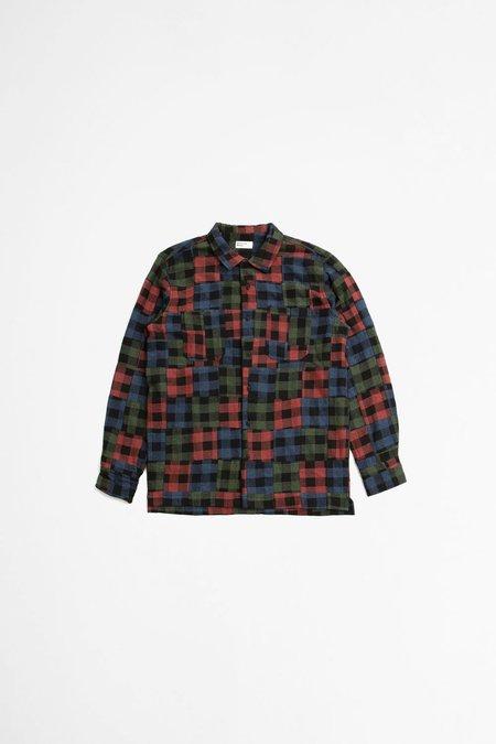 Universal Works Garage shirt II - brushed patchwork multi